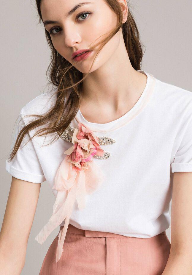 T-shirt avec fleur et strass