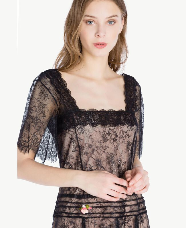 Robe longue dentelle Noir Femme PS821F-04