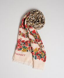 Knit scarf with floral and animal print Leo / Flower Mix Print Woman 192TA441M-01