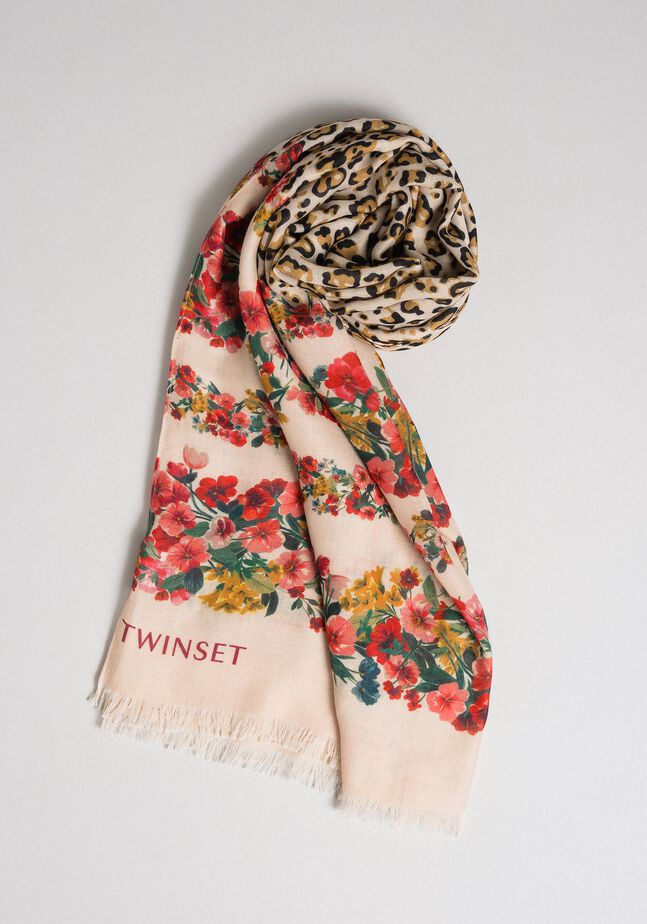 Knit scarf with floral and animal print