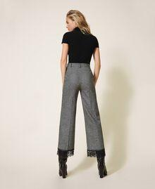 """Cropped wool trousers with lace """"Salt Pepper Snow"""" / Black Woman 202TP2382-02"""