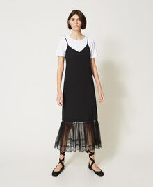 Slip dress with ladybug embroidery and T-shirt Black Woman 202TP2808-01