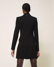 Long jacket with crêpe de Chine details Black Woman 202MP2291-04