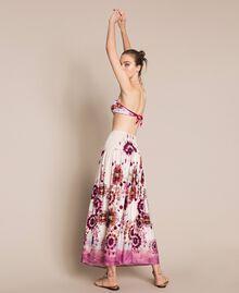 Printed satin skirt-dress Flirty Rose Unevenly Dyed Print Woman 201LB2GLL-02