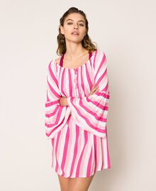 Striped kaftan with drawstring Multicolour Candy Pink / Shocking Pink / Optical White Woman 201LM2FEE-01