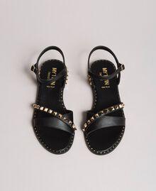 Sandalias de piel sintética con tachuelas Negro Mujer 191MCP192-03