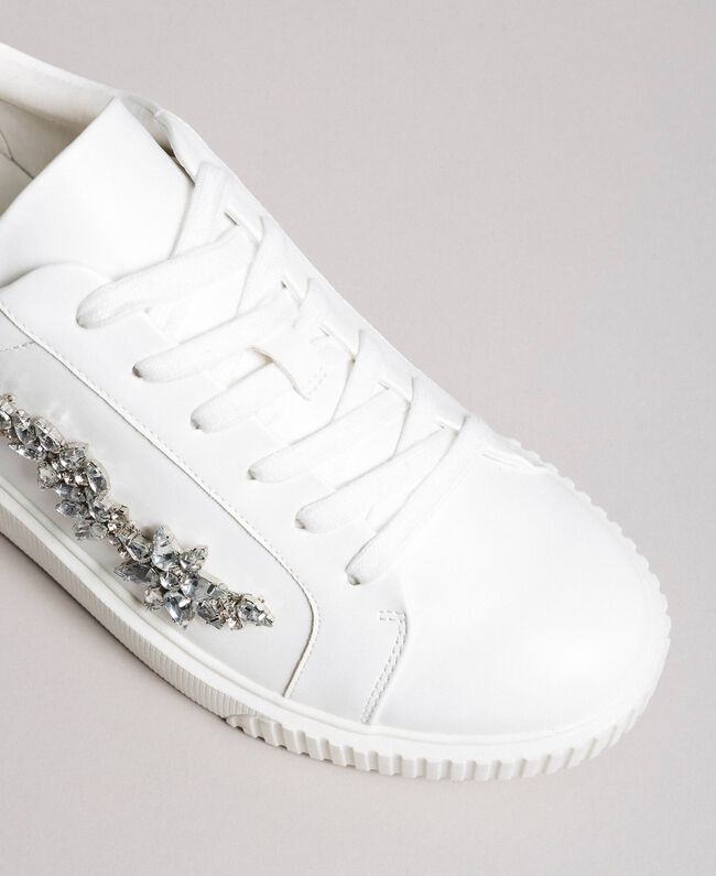 Faux leather sneakers with stones White Cream Woman 191MCP032-04