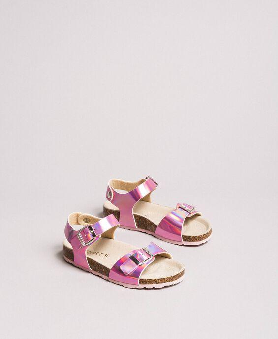 Sandales en cuir laminées