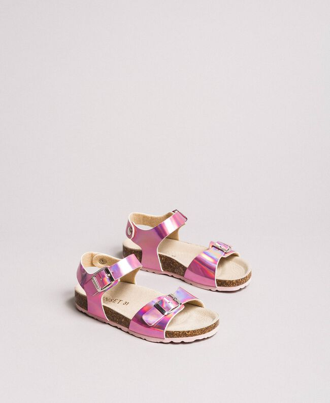 """Laminated leather sandals """"Crystal Pink"""" Child 191GCJ162-01"""