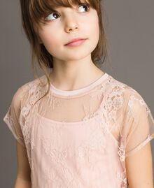Top in jersey e blusa in pizzo Rosa Blossom Bambina 191GJ2741-04