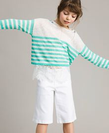 """Striped jumper and lace top """"Island Paradise"""" Light Blue / Off White Striping Child 191GJ3080-0S"""