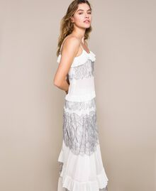 Pleated top with two-tone lace White Snow Woman 201TT2140-04