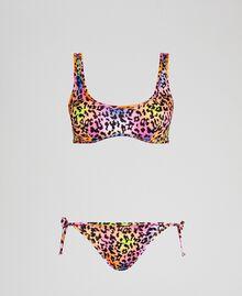 Bikini 'Elettra x Twinset' Fluorescent Orange / Leopard Print Woman 191TQM020-01
