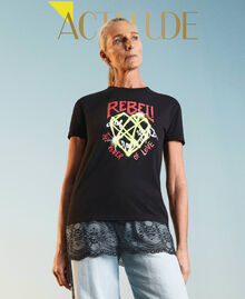 Printed T-shirt with lace Black Woman 211MT2300-01