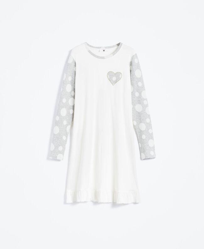 Nachthemd aus Baumwollmischung Zweifarbig Tupfen Grau / Elfenbein Frau LA8UBB-01