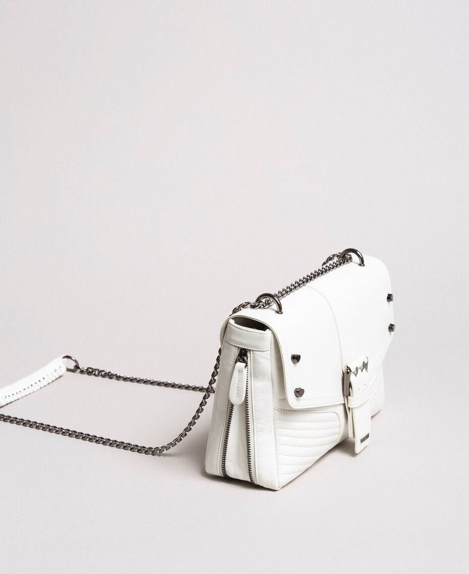 Rebel leather shoulder bag White Snow Woman 191TA7233-02