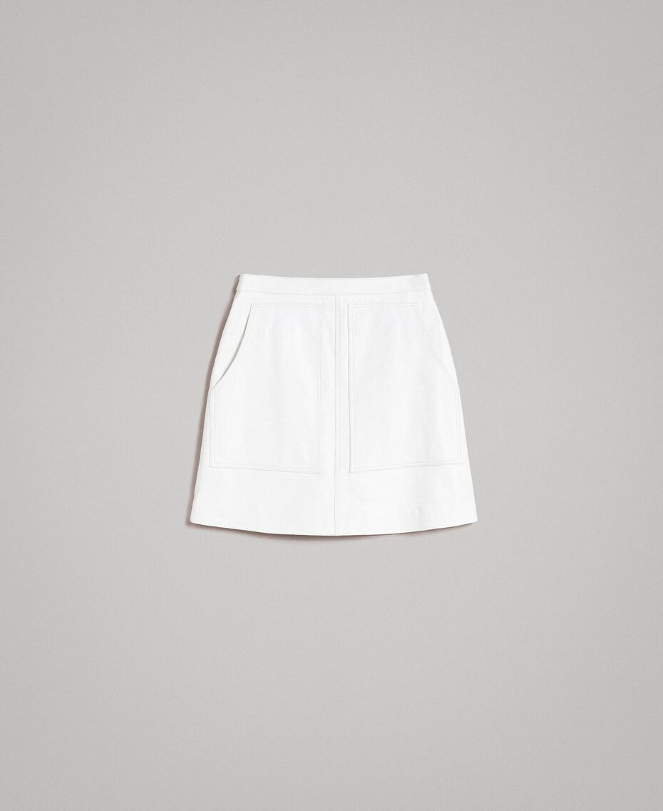 Leather mini skirt White Woman 191TP2163-0S