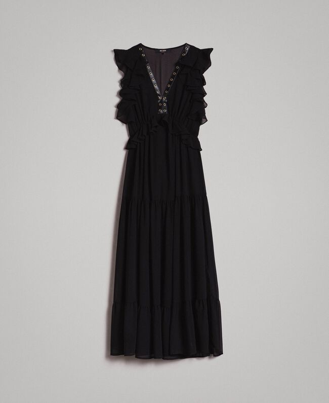 Long georgette dress with rings Black Woman 191MP2390-0S