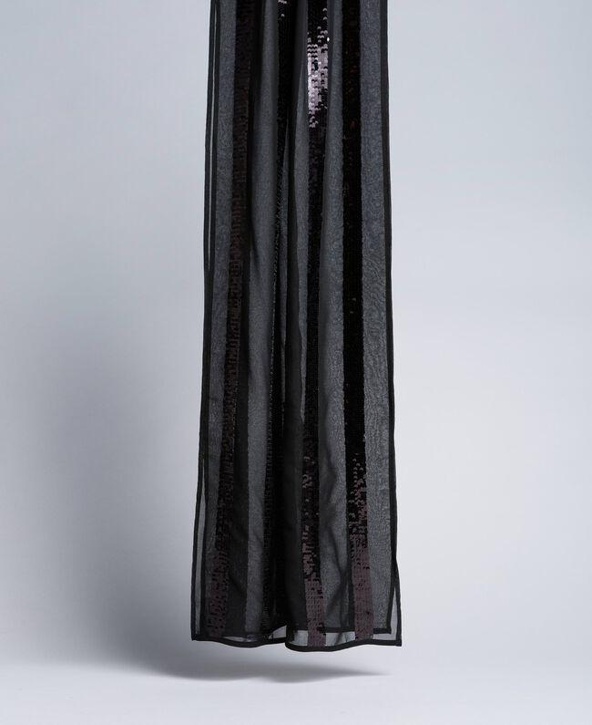 Écharpe avec paillettes à rayures Noir Femme AA8P1Q-01