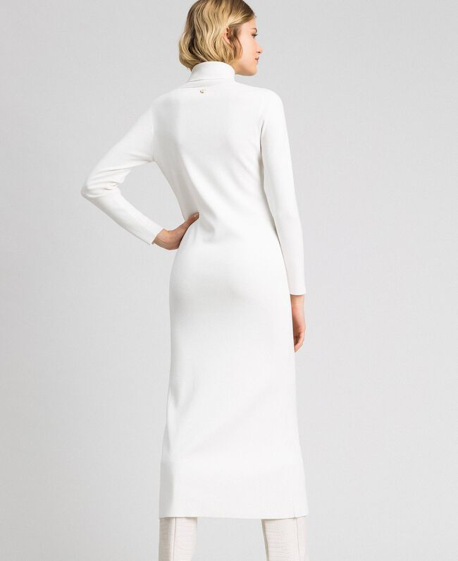 Robe longue en maille Blanc Vanille Femme 192MT3014-03