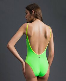 One-piece swimsuit with shoulder straps Fluorescent Orange / Fluorescent Blue Woman 191TQM025-03