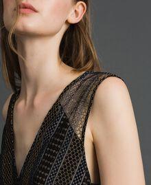 Кружевное платье-миди с люрексом Черный женщина 192TT2361-04