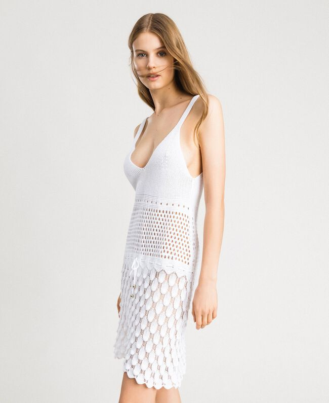 Baumwollkleid mit offenem Muster Weiß Frau 191LB3GCC-01