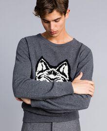 Pull en laine mélangée Gris moyen chiné Homme UA83H1-04