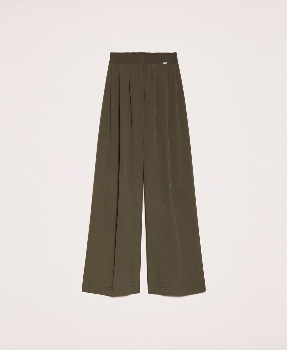 Crêpe de Chine wide trousers Elm Green Woman 201ST2016-0S