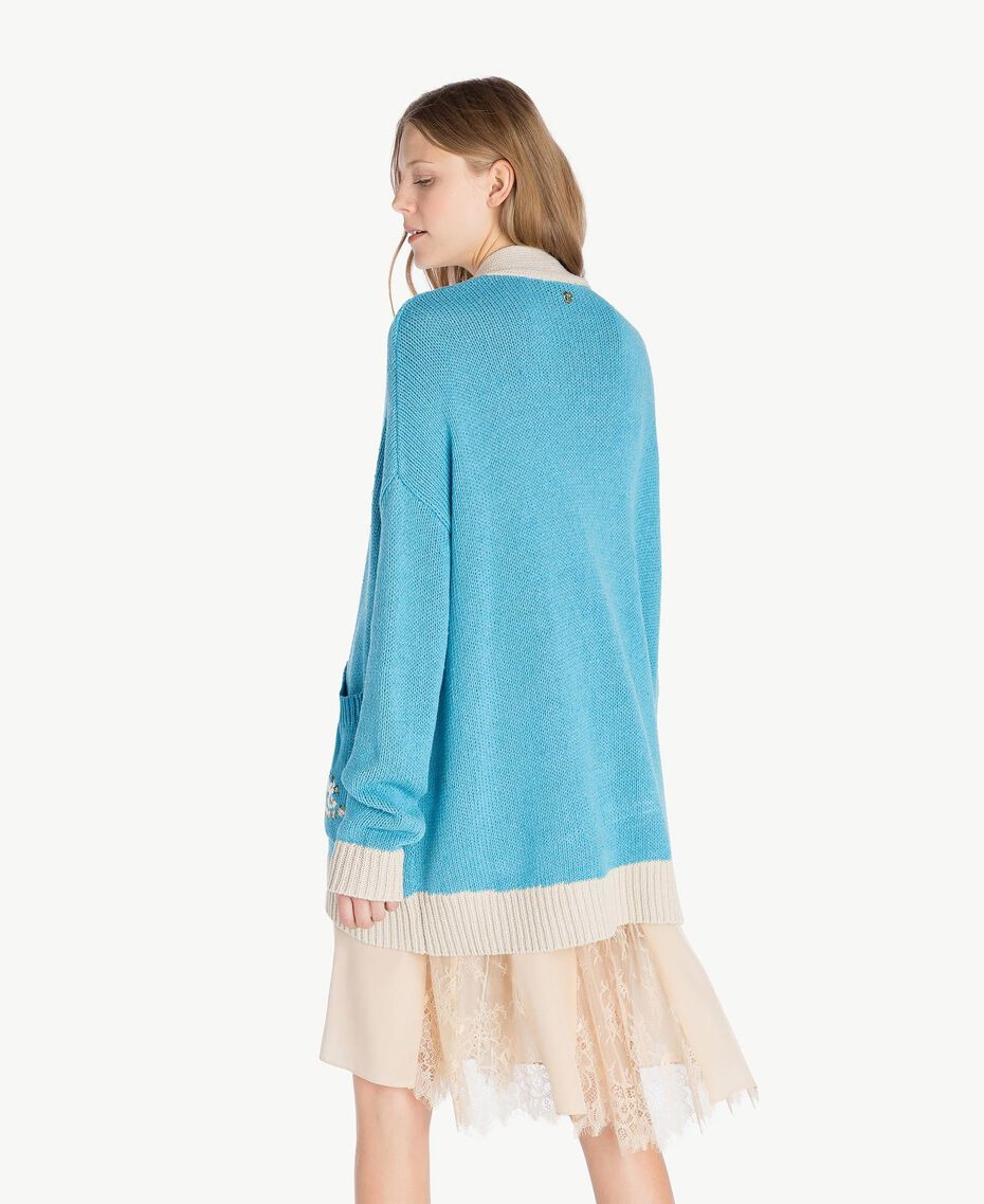 Cardigan over Blu D'Oriente Donna PS83L2-03
