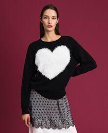 Cardigan-Pullover mit Herz Zweifarbig Schwarz / Schneeweiß Frau 192TP3320-01