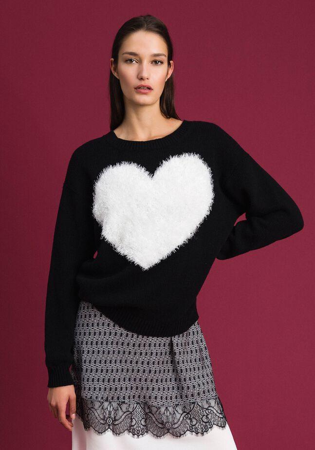 Pull-cardigan avec cœur