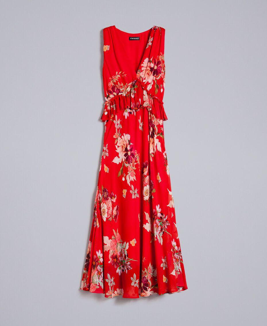 """Maxikleid aus geblümtem Georgette Print """"Red Garden"""" Frau PA8272-0S"""