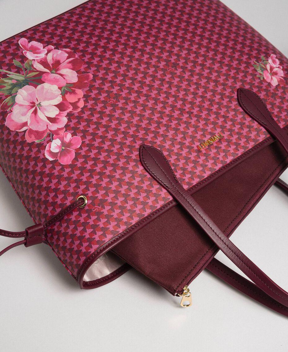 Bedruckter Shopper mit Pochette Schmetterling-Blumen-Print Rote-Bete-Rot Frau 192TA7017-02