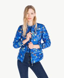Printed down jacket Multicolour Lapis Blue Flowers Woman JS82BA-01