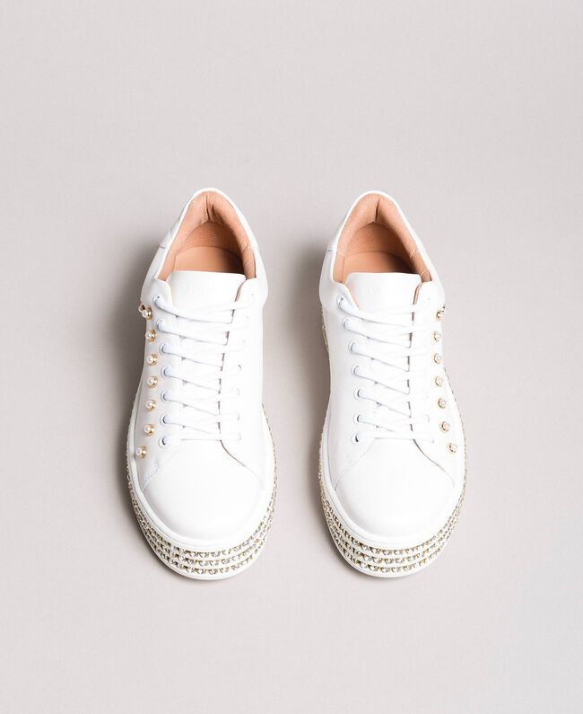 Sneakers in pelle con strass e perle Bianco Donna 191TCP166-04