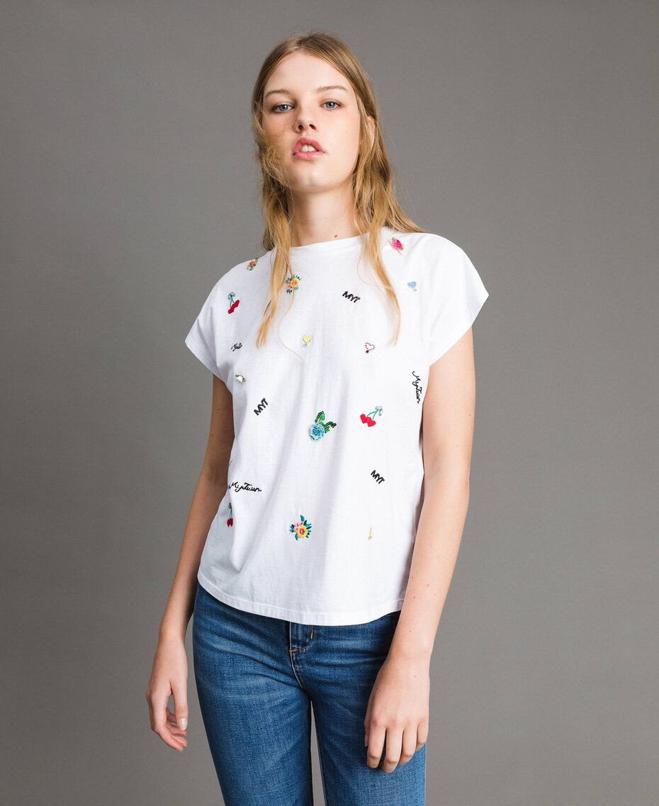 T-shirt with embroidery and appliqués White Cream Woman 191MP2063-02