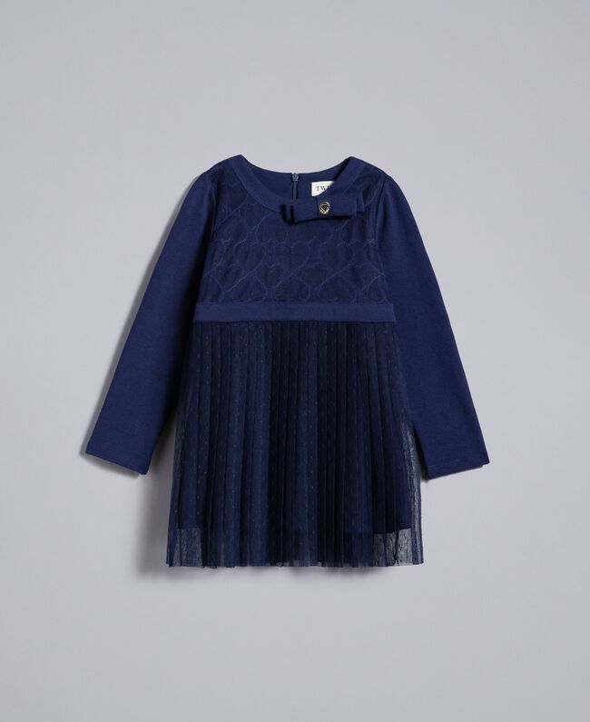 Tulle plumetis dress Blackout Blue Child FA82QN-01