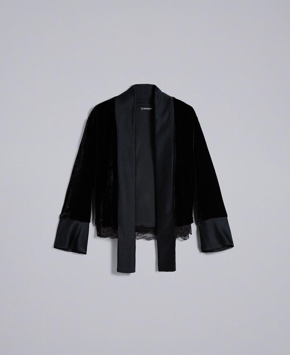 Jacke aus weichem Samt Schwarz Frau TA826R-0S