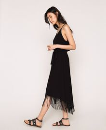 Long dress with fringes Black Woman 201LM2BEE-02
