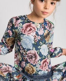 Crêpe dress with floral and graffiti print Graffiti Print Child 192GJ2491-04
