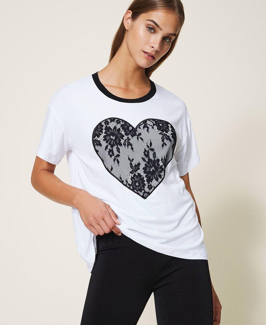 T-shirt con cuore in pizzo Bianco Donna 202LI2NAA-01