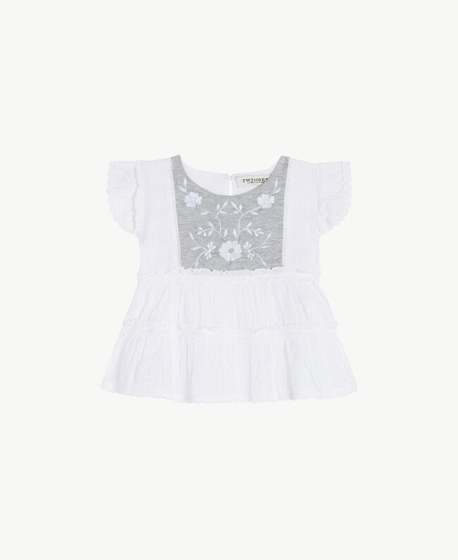 "Embroidered top ""Papyrus"" White Jacquard Stripes / Light Melange Grey Child FS82LA-01"