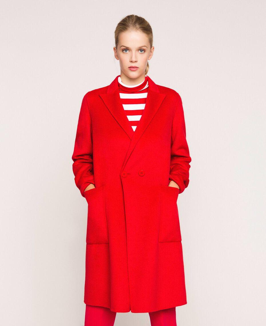 Manteau en drap double Rouge «Lave» Femme 201TP242A-02