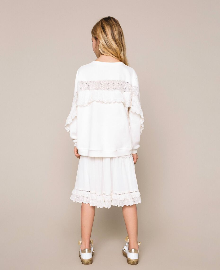 Sweatshirt with broderie anglaise inlay and frill Off White Child 201GJ2461-03