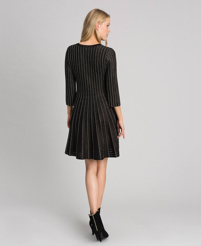 Pleated lurex knit dress Lurex Black Woman 192TP3302-03