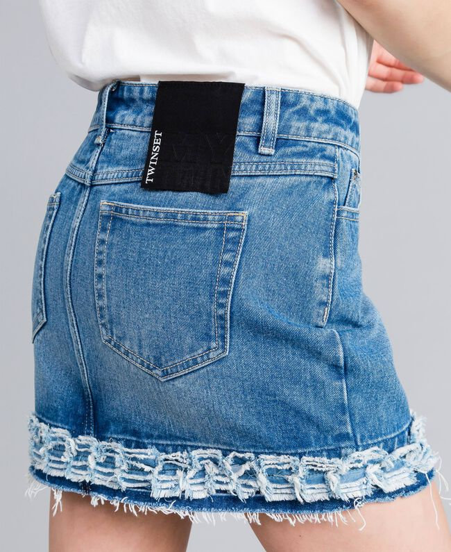 Mini-jupe en denim Bleu Denim Femme JA82Y1-04