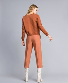 "Bi-stretch wool trousers ""Earth"" Brown Woman TA827R-03"