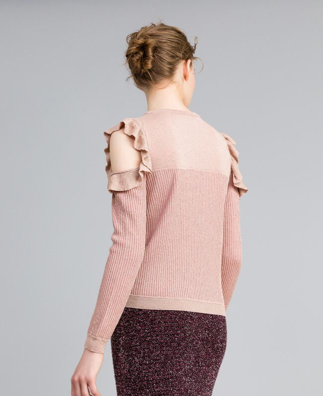 "Jacquard lurex jumper with ruches ""Light Pink"" with Lurex Woman PA834E-03"