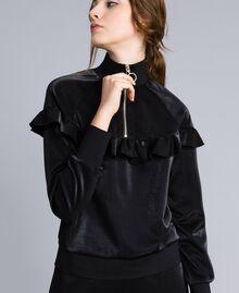 Sweatshirt aus technischem Stoff mit Rüschen Schwarz Frau IA85BB-05